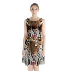 Tiger  Sleeveless Chiffon Waist Tie Dress