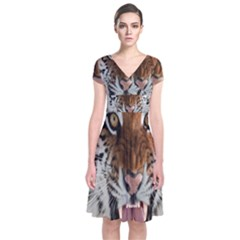Tiger  Short Sleeve Front Wrap Dress