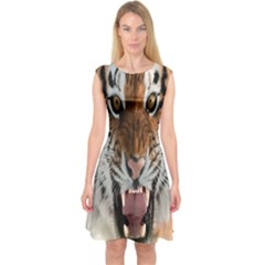 Tiger  Capsleeve Midi Dress