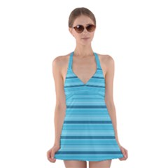 The Background Strips Halter Swimsuit Dress
