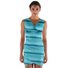 The Background Strips Wrap Front Bodycon Dress