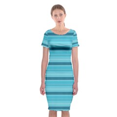 The Background Strips Classic Short Sleeve Midi Dress