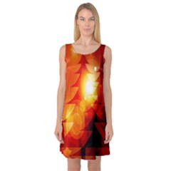 Tree Trees Silhouettes Silhouette Sleeveless Satin Nightdress
