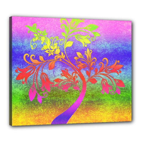 Tree Colorful Mystical Autumn Canvas 24  X 20