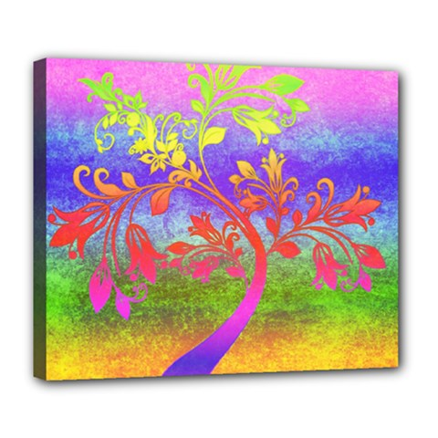 Tree Colorful Mystical Autumn Deluxe Canvas 24  X 20