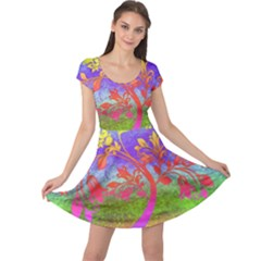 Tree Colorful Mystical Autumn Cap Sleeve Dresses