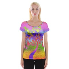 Tree Colorful Mystical Autumn Women s Cap Sleeve Top