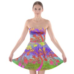 Tree Colorful Mystical Autumn Strapless Bra Top Dress