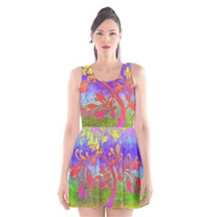 Tree Colorful Mystical Autumn Scoop Neck Skater Dress