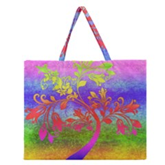 Tree Colorful Mystical Autumn Zipper Large Tote Bag