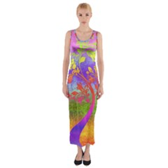 Tree Colorful Mystical Autumn Fitted Maxi Dress