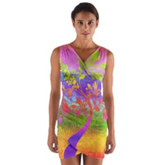 Tree Colorful Mystical Autumn Wrap Front Bodycon Dress