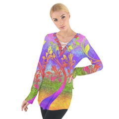 Tree Colorful Mystical Autumn Women s Tie Up Tee