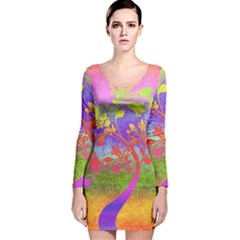 Tree Colorful Mystical Autumn Long Sleeve Velvet Bodycon Dress