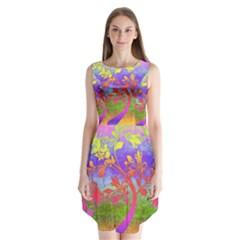 Tree Colorful Mystical Autumn Sleeveless Chiffon Dress