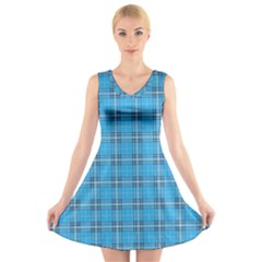 The Checkered Tablecloth V Neck Sleeveless Skater Dress