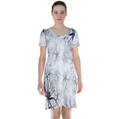 Tree Knots Bark Kaleidoscope Short Sleeve Nightdress