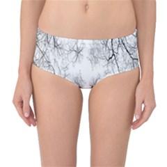Tree Knots Bark Kaleidoscope Mid-Waist Bikini Bottoms