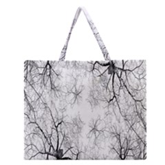 Tree Knots Bark Kaleidoscope Zipper Large Tote Bag