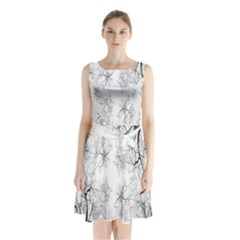 Tree Knots Bark Kaleidoscope Sleeveless Chiffon Waist Tie Dress