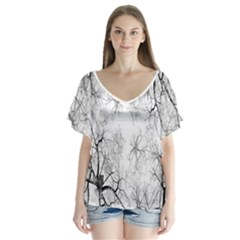 Tree Knots Bark Kaleidoscope Flutter Sleeve Top