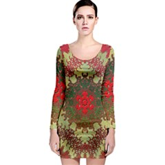 Tile Background Image Color Pattern Long Sleeve Bodycon Dress