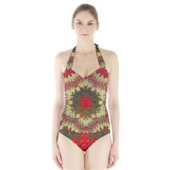 Tile Background Image Color Pattern Halter Swimsuit
