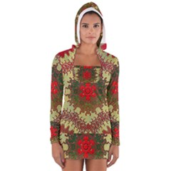 Tile Background Image Color Pattern Women s Long Sleeve Hooded T Shirt