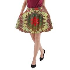 Tile Background Image Color Pattern A-Line Pocket Skirt