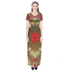 Tile Background Image Color Pattern Short Sleeve Maxi Dress