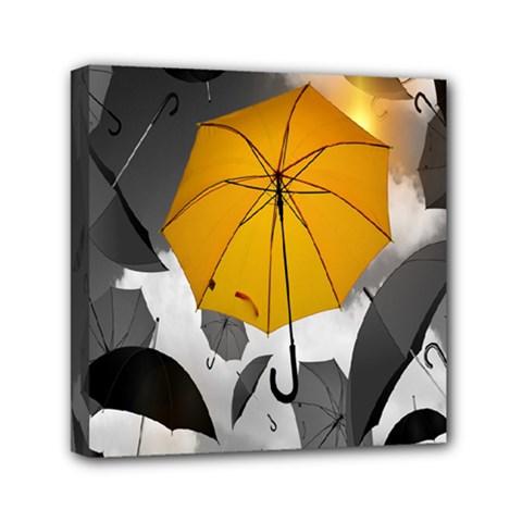 Umbrella Yellow Black White Mini Canvas 6  X 6