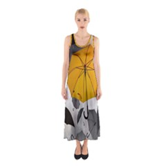 Umbrella Yellow Black White Sleeveless Maxi Dress