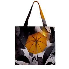 Umbrella Yellow Black White Zipper Grocery Tote Bag