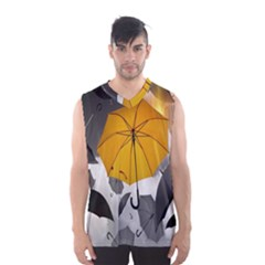 Umbrella Yellow Black White Men s Basketball Tank Top