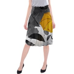 Umbrella Yellow Black White Midi Beach Skirt