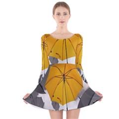Umbrella Yellow Black White Long Sleeve Velvet Skater Dress