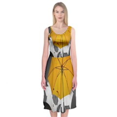Umbrella Yellow Black White Midi Sleeveless Dress