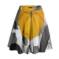 Umbrella Yellow Black White High Waist Skirt