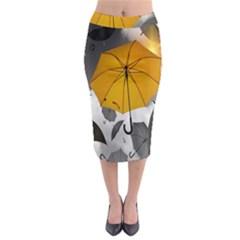 Umbrella Yellow Black White Midi Pencil Skirt