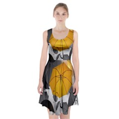 Umbrella Yellow Black White Racerback Midi Dress