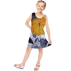 Umbrella Yellow Black White Kids  Tunic Dress