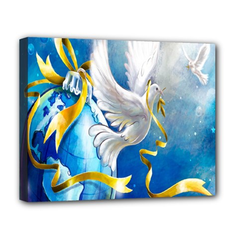 Turtle Doves Christmas Deluxe Canvas 20  x 16