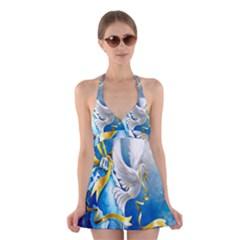 Turtle Doves Christmas Halter Swimsuit Dress