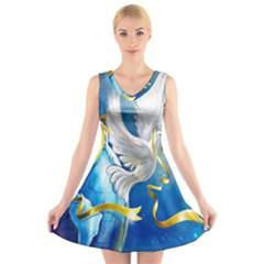 Turtle Doves Christmas V-Neck Sleeveless Skater Dress
