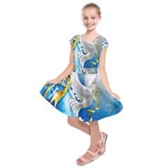 Turtle Doves Christmas Kids  Short Sleeve Dress