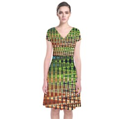 Triangle Patterns Short Sleeve Front Wrap Dress