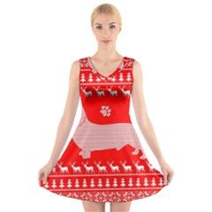 Ugly X Mas Design V Neck Sleeveless Skater Dress