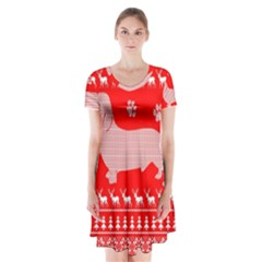 Ugly X Mas Design Short Sleeve V-neck Flare Dress
