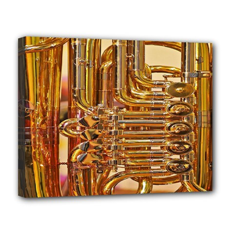 Tuba Valves Pipe Shiny Instrument Music Canvas 14  x 11
