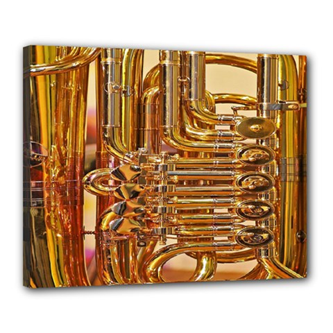 Tuba Valves Pipe Shiny Instrument Music Canvas 20  x 16